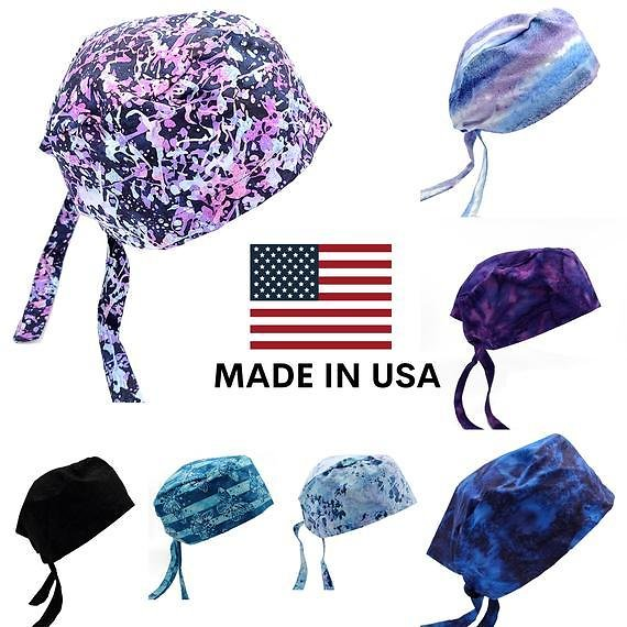 Scrub Caps | Surgical Cap Medical Doctor Nurse Hat | Made in USA | 100% Organic Cotton | Washable Reusable | Hand Dyed | Purple Blue