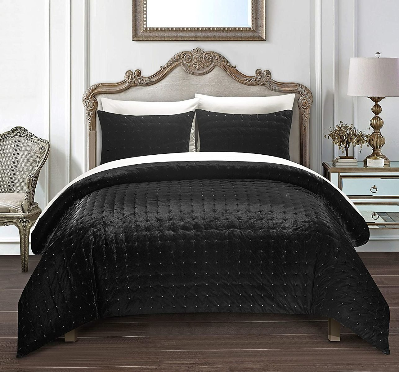 Chic Home Chyna 3-Piece King Comforter Se Luxurious Hand Stitched Velvet Bedding - Decorative Pillow Shams Included, Black