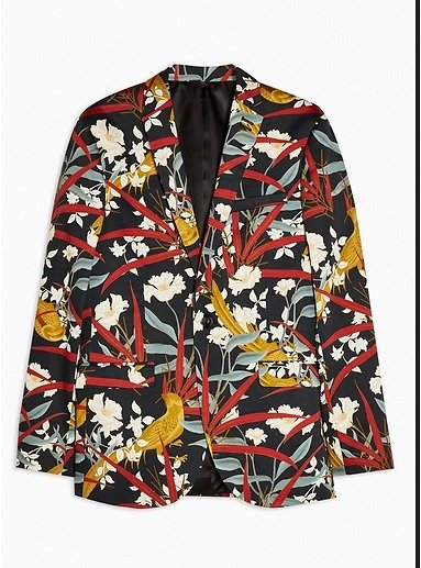 Black Skinny Fit Floral Bird Print Single Breasted Suit Blazer With Notch Lapels