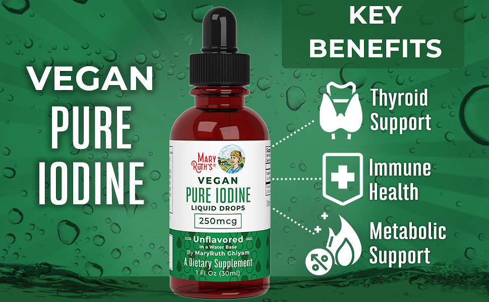 (1 Year Supply) Vegan Iodine Drops By MaryRuth's - Nascent Liquid Iodine Supplement Drops Solution - Pure, Clear Iodine - Promotes Optimal Thyroid Health - Hormone and Weight Support - 450 Servings