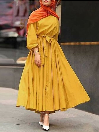 Women Solid Color Puff Sleeve Pleated Kaftan Loose Vintage Maxi Dresses With BeltDressesfromWomen's Clothingon Banggood.com