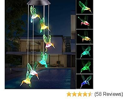 BINWO Wind Chimes Outdoor Solar Hummingbird Wind Chimes Color Changing LED Mobile.