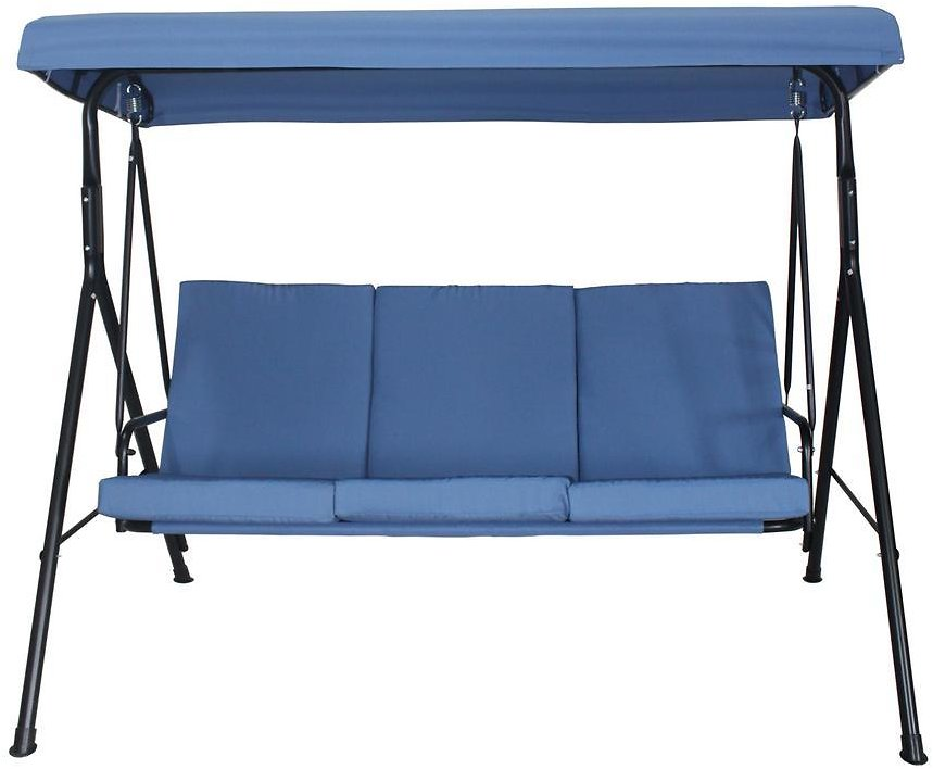 Toulon 75.5-in 3-Person Metal Patio Swing w/ Blue Cushions