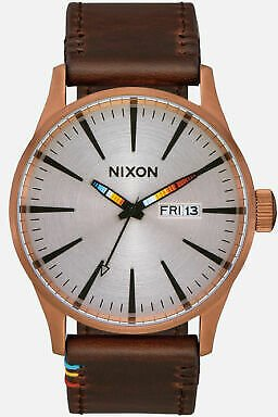 Nixon Men's Sentry A1053173-00 42mm Silver Dial Leather Watch 191973082732