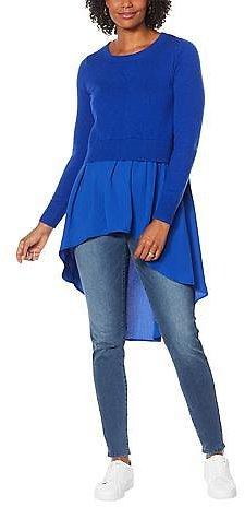 DG2 By Diane Gilman Combo Sweater with Woven Knit Hi-Low Peplum - 9545099 | HSN