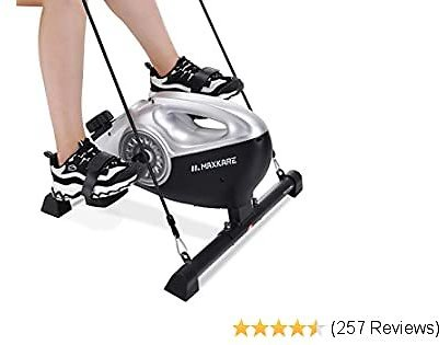 MaxKare Under Desk Exercise Bike 2 in 1 Stationary Magnetic Pedal Exerciser Cycle Bike with LCD Monitor Leg and Arm Recovery for Men and Women At Home and Office (Resistance Bands Included)