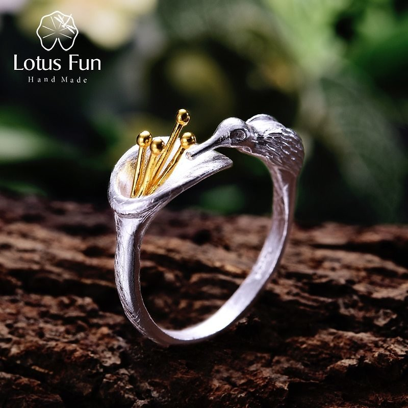 Lotus Fun Real 925 Sterling Silver Bird Ring Natural Creative Design Fine Jewelry Adjustable Hummingbird Rings for Women Bijoux
