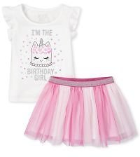 Baby And Toddler Girls Birthday Short Sleeve Glitter Cake Ruffle Top And Tutu Skirt Set