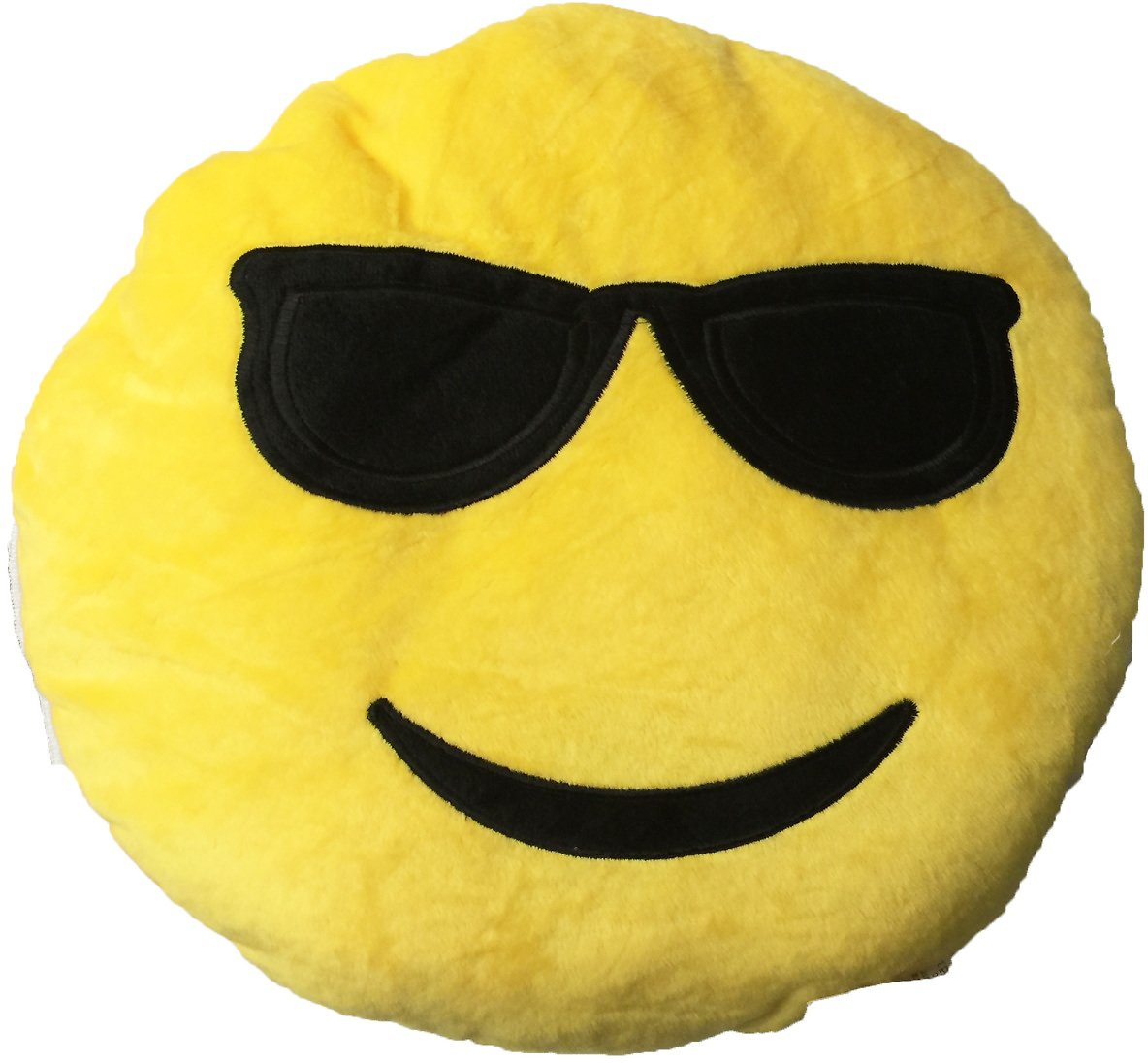 Creative Motion Industries Smiley Face with Cool Sunglasses Emoji Cushion Pillow