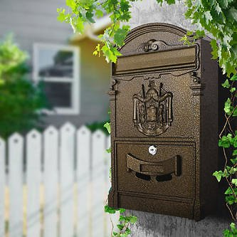 Mailboxes Wall-Mount Mailbox Medium Capacity Rust-Proof Outdoor Safe Locking Security Lockable Letter Box Home Decor. F/Sr