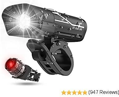 [2020 Latest] USB Rechargeable Super Bike Headlight and Back Light Set, Runtime 10+ Hours 600 Lumen Bright Front Lights and Tail Rear LED, 5 Light Mode Options Fits All Bicycles, Road, Mountain