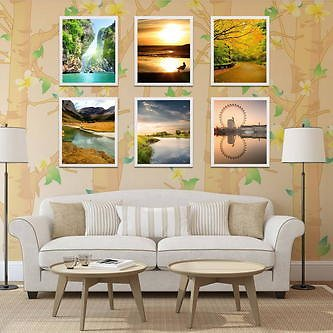 6 Pieces 12inch Picture Frame Wall Hanging Display Home Decor Picture Photo Frame Set