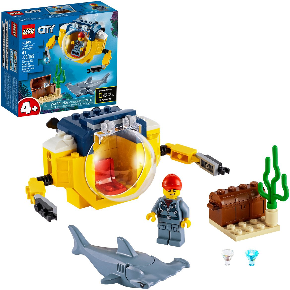 LEGO City Ocean Mini-Submarine 60263 Building Toy, for Kids 4+ (41 Pieces)