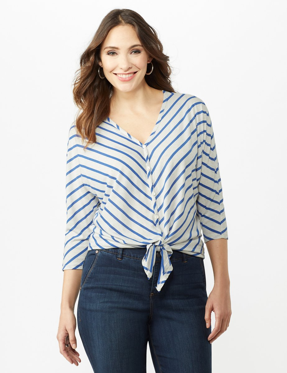 Stripe Tie Front Knit Top (2 Colors)