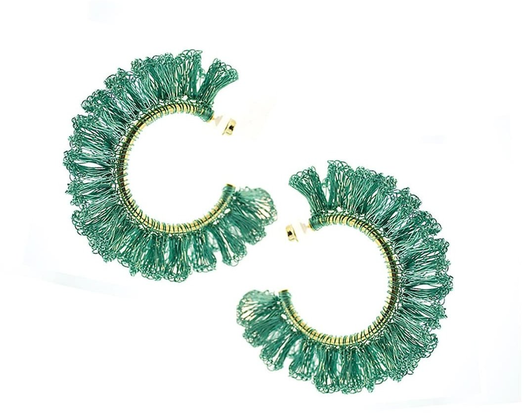 Turquoise Crochet Ruffled Hoop Earrings