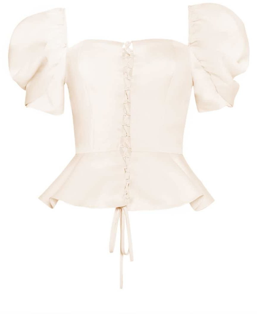Cream Lace Up Front Crop Top By True Decadence