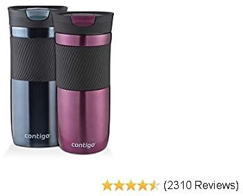 Contigo SnapSeal Byron Vacuum-Insulated Stainless Steel Travel Mug, 16 Oz, Radiant Orchid and Stormy Weather