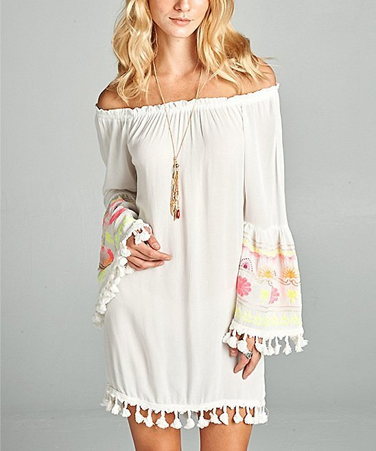 White Embroidered-Sleeve Off-Shoulder Dress - Juniors & Plus