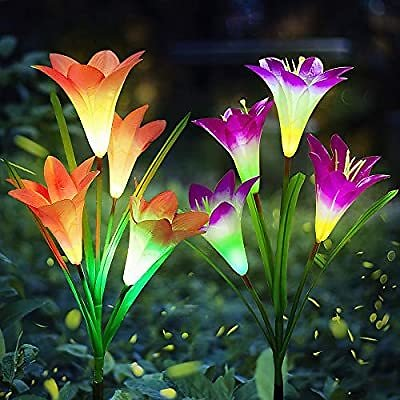 2 Pack Solar Powered Lights with 8 Lily Flower