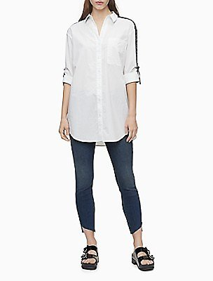 Skinny Fit Mid Rise Sunset Blue Step-Hem Jeans | Calvin Klein