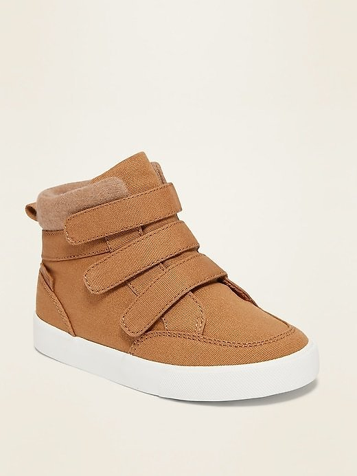 Triple-Strap Canvas High-Top Sneakers for Toddler Boys   Old Navy