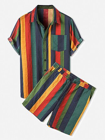 Mens Cotton Colorful Stripe Patch Pocket Breathable Short Sleeve Shirt & Shorts Co-ord Tops from Men's Clothing on Banggood.com