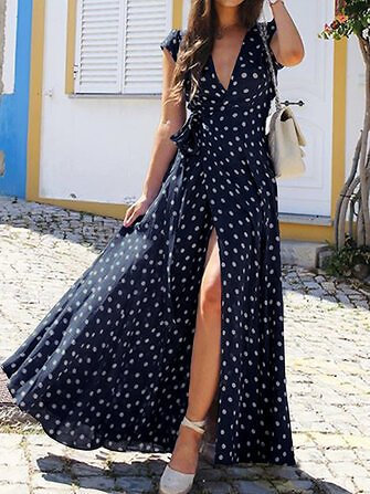 Polka Dots V-neck Short Sleeve Print Split Party Wrap Maxi Dress Dresses from Women's Clothing on Banggood.com