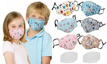 3-Pack Reusable Kids Face Mask with Filters and Adjustable Earloop