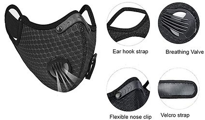 Reusable Running Cycling Breathable Outdoor Sport Face Mask With Valve & Filter