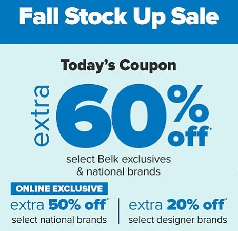 Extra 60% Off Fall Stock Up Sale + Extra 10-15% Off