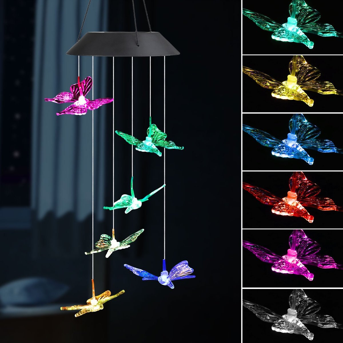 EEEkit LED Solar Butterfly Wind Chimes Outdoor - Waterproof Solar Powered LED Changing Light Color 6 Butterflies Mobile Romantic
