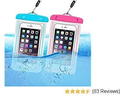 ORIbox Universal Waterproof Pouch Phone Dry Bag with Luminous Ornament Case for IPhone 11 Pro Max XS Max XR X 8 7 6S Plus SE 2020 Galaxy Pixel, Blue & Rose Red(2 Packs)
