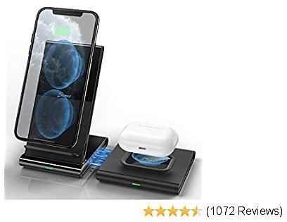 Wireless Charger, Seneo Wireless Charging Pad & Stand 2 Pack, Type-C Fast Qi Charger, Magnetic and Detachable for IPhone 11 Pro Max/XS/XR/X/8P/Airpods Pro/2, Galaxy Buds/Note10/9/S10/S9(No Adapter)