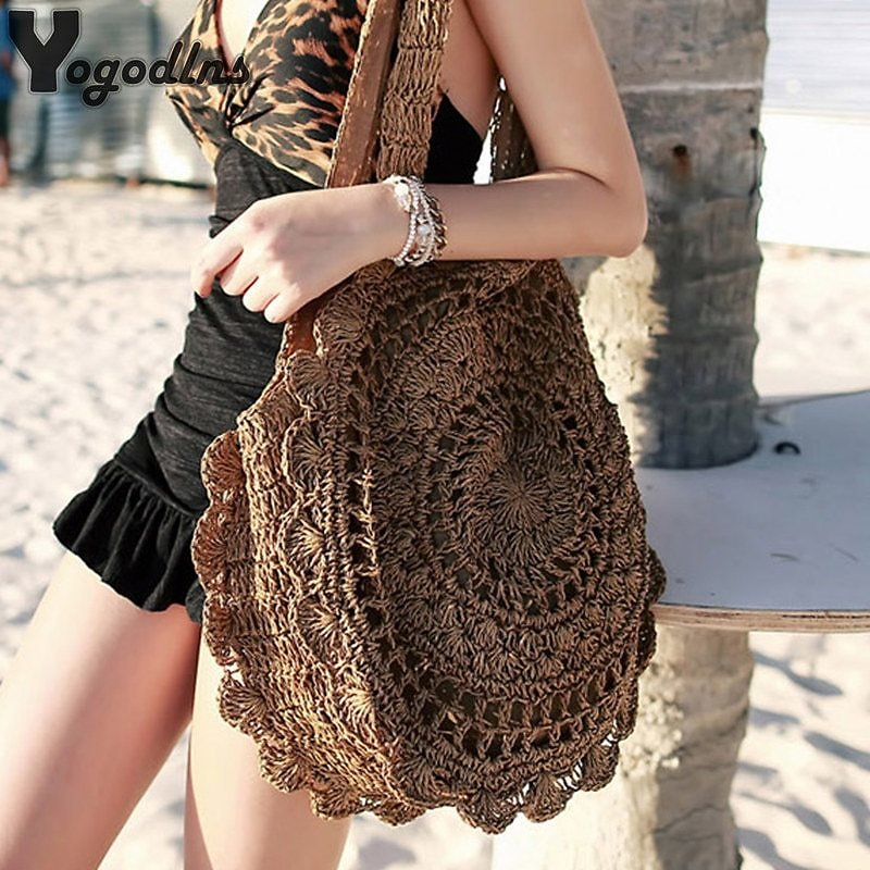 US $9.36 71% OFF|Bohemian Straw Bags for Women Circle Beach Handbags Summer Rattan Shoulder Bags Handmade Knitted Travel Big Totes Bag 2020 New|Shoulder Bags| - AliExpress