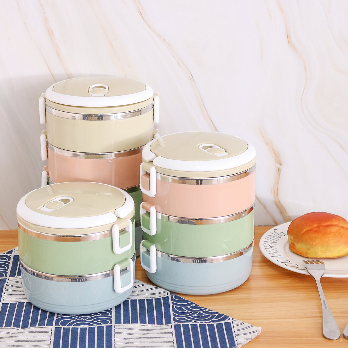 2 Layers Stainless Steel Lunch Box Round Thermal Insulated Bento Portable Sealed Food Stackable Container