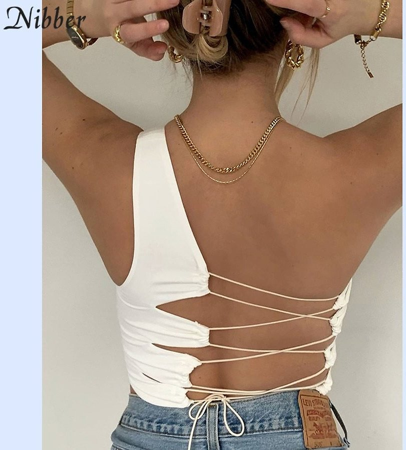 US $7.25 45% OFF|Nibber Sexy Hollow Backless White Black Tank Top Women Summer Korean Club Party Wear Camisole Femme Crop Tops Slim Soft Vest Tee|Camis| - AliExpress