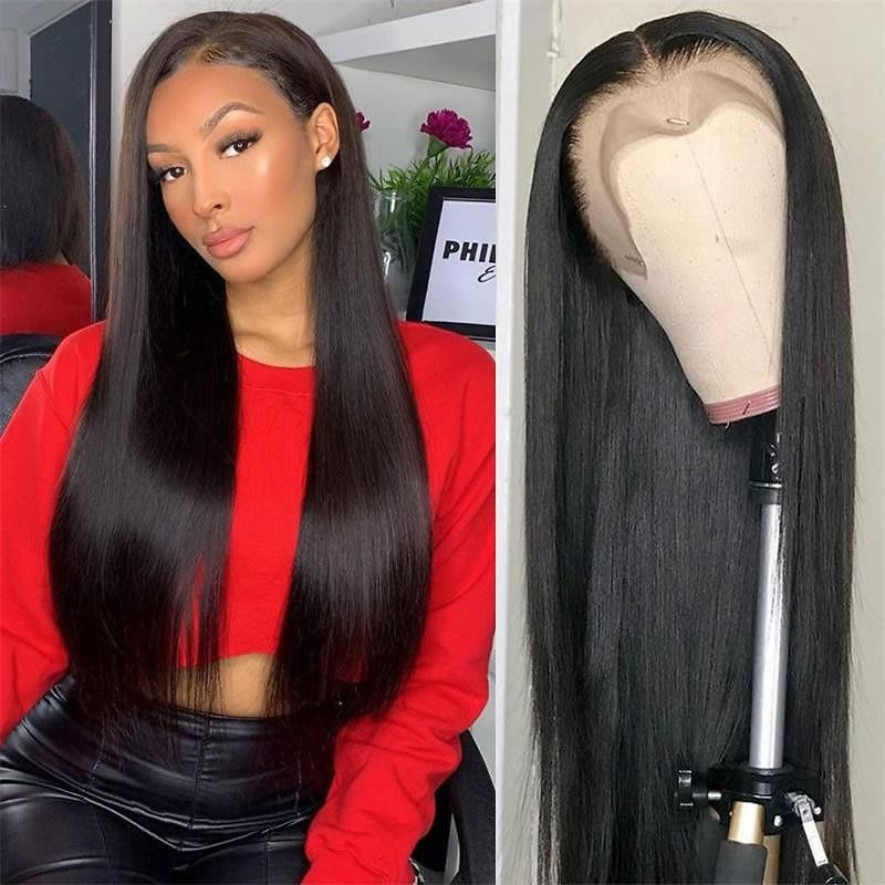 13x4 Straight Lace Frontal Human Hair Wigs 4x4 Closure Wig Brazilian Straight Lace Wig 150 Density PrePlucked