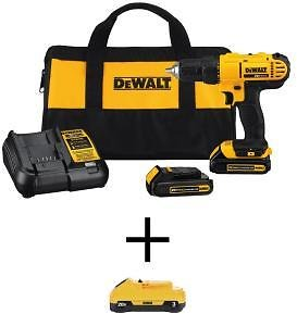 Today Only! DEWALT 20-Volt MAX Li-Ion Cordless 1/2 In. Drill/Driver Kit , Charger & Tool Bag + F/S