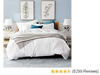 Bedsure White Washed Duvet Cover Set Queen Size with Zipper Closure,Ultra Soft Hypoallergenic Comforter Cover Sets 3 Pieces (1 Duvet Cover + 2 Pillow Shams), 90X90 Inches