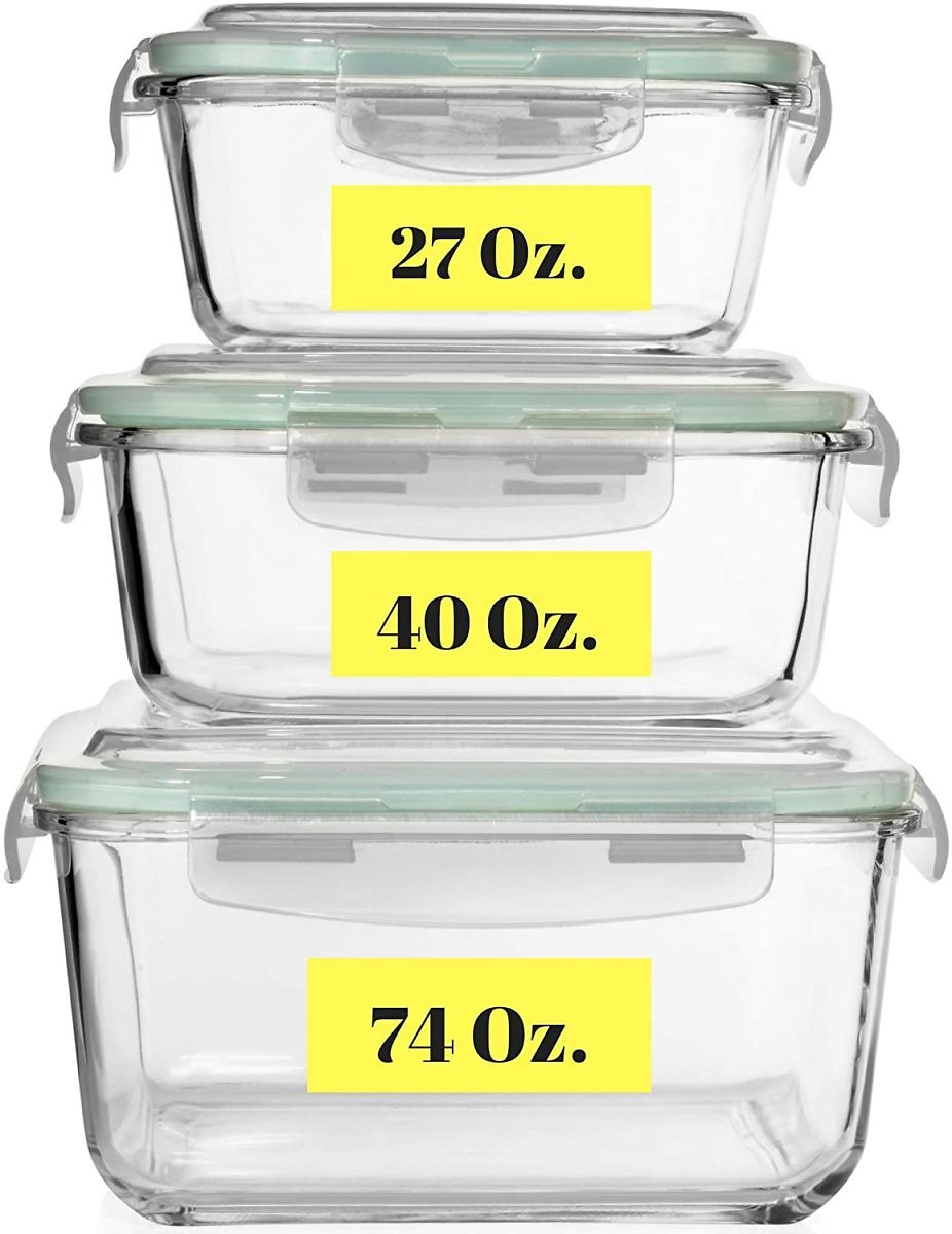 Extra Large Glass Food Storage Containers with Airtight Lid 6 Pc [3 Containers with Lids] Square Container Set