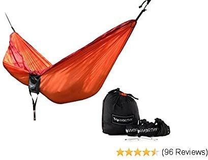 Premium Outdoor Hammock for Hiking - Camping - Backpacking & More! - Free Hanging Straps - Parachute Nylon Fabric - Compact & Lightweight Set - Bag, Carabiners, Rope and Tree Straps Included!