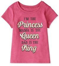 Baby And Toddler Girls Short Sleeve Glitter 'I'm The Princess Mama Is The Queen Dad Is The King' Graphic Tee