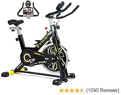 PYHIGH Indoor Cycling Bike Belt Drive Stationary Bicycle Exercise Bikes with LCD Monitor for Home