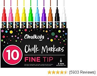 Fine Tip Chalk Markers (10 Pack 3mm) - Bold Color Erasable Dry Erase Marker Pens for Blackboards, Chalkboard, Window, Bistro - 3mm Reversible Bullet & Chisel Point