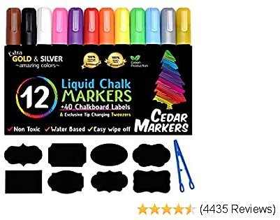 Cedar Markers Liquid Chalk Markers - 12 Pack With Free 40 Chalkboard Labels - Neon Color Pens Including Gold And Silver Paint. Chalkboard Markers for Windows, Glass, Chalkboard with Reversible Tip.