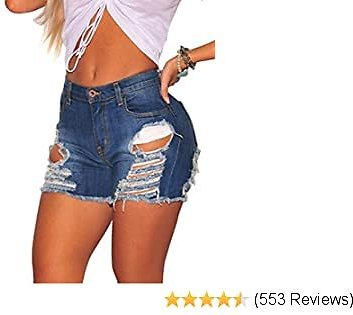 Govc Womens Jean Shorts Juniors High Rise Distressed Fray Hem Stretchy Denim Short Jeans