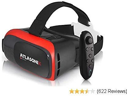 VR Headset Compatible with IPhone and Android Phones | VR Set Incl. Remote Control for Android Smartphones | 3D Virtual Reality Goggles w/ Controller | Adjustable VR Glasses - Gift for Kids and Adults