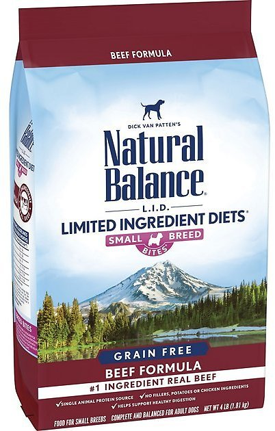 Natural Balance L.I.D. Limited Ingredient Diets Beef Formula Small Breed Bites Grain-Free Dry Dog Food, 4-lb Bag - Chewy.com