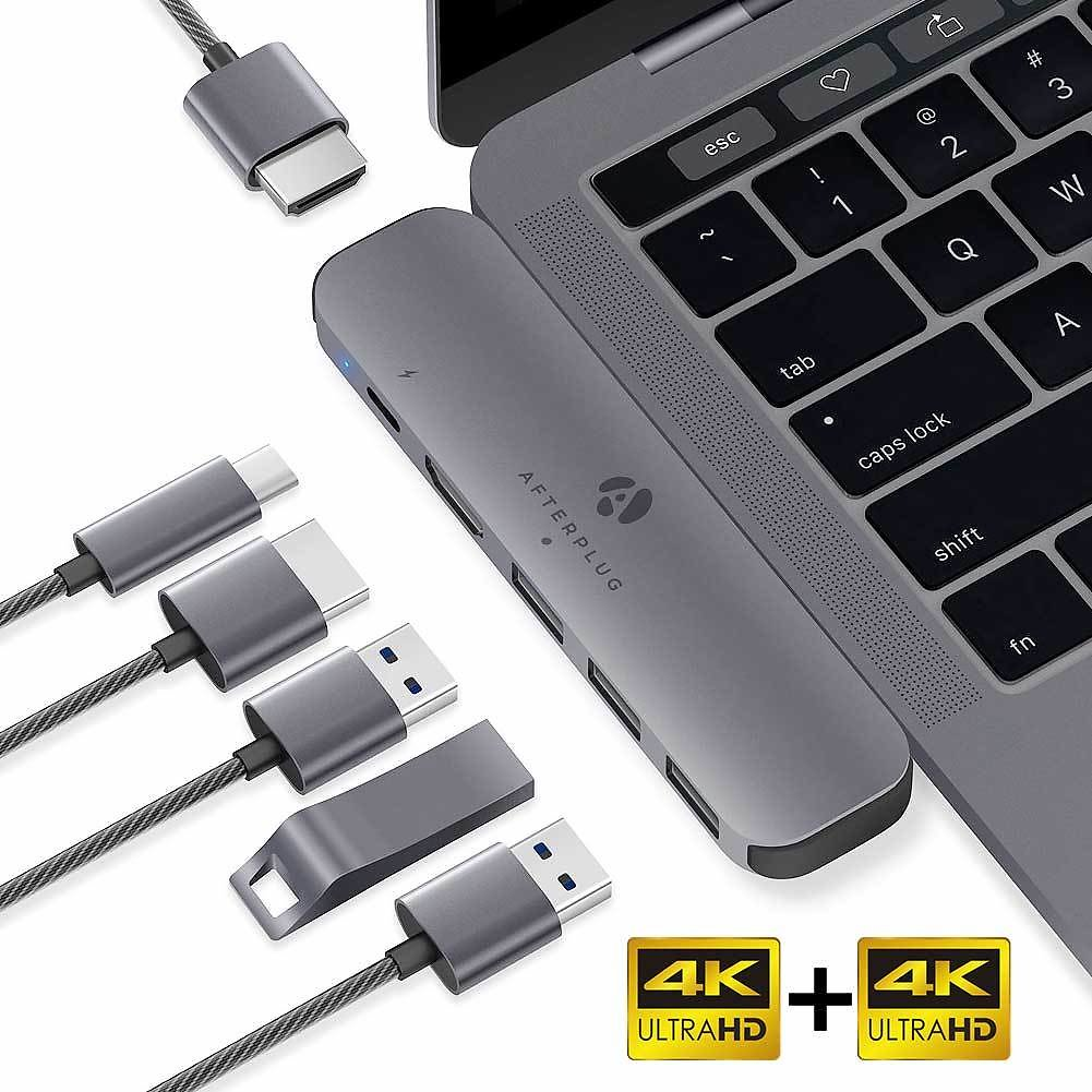 Afterplug 4K60Hz USB C Dual Display Hub Adapter, 6-in-2 Type C Extension Dock, with Dual 4K HDMI Ports, 60W Power Delivery, 3 USB 3.0 Ports, for MacBook Pro 2020/2019/2018/2017, MacBook Air 2020/2019