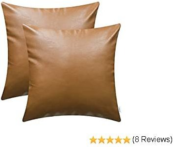 CaliTime Throw Pillow Cases Pack of 2 Modern Solid Dyed Soft Faux Leather Decorative Cushion Covers Shells for Couch Sofa Bedroom 18 X 18 Inches Brown